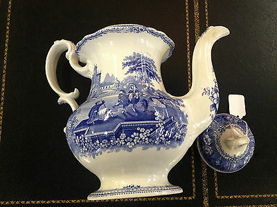 Staffordshire Blue & White Transferware Historical / Romantic Coffee Pot Nice