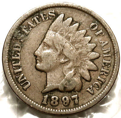 1897 Indian Head Cent. Very Good. Bold Date Full Rims. Original Us Coin.  #176
