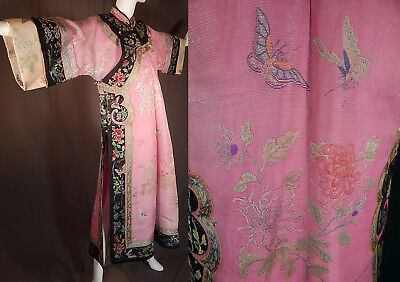 Antique Chinese Pink Silk Counted Stitch Embroidery Cheongsam Qipao Manchu Robe
