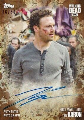 The Walking Dead Season 7 - Ross Marquand (Aaron) Mud Autograph Card A-Rm 26/50