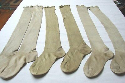 Lot 3 Antique Early Vintage Children's Long Silk Stockings