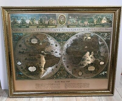 Vintage Framed Gold Foil Blaeu Wall Map of Old and New World 22.75 x 18.5 Framed