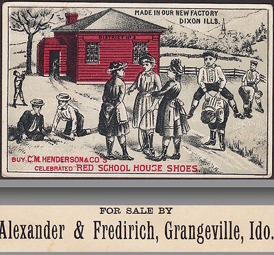 Grangeville Idaho 1880's Henderson Red School House Shoe Advertising Trade Card