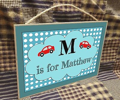 "Personalized Cars Name Kids Room Baby Nursery 7"" x 10.5"" SIGN Plaque"