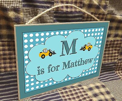 "Personalized Construction Name Kids Room Baby Nursery 7"" x 10.5"" SIGN Plaque"