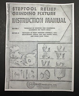 Harig Products Steptool Relief Grinding Fixture Instruction Manual