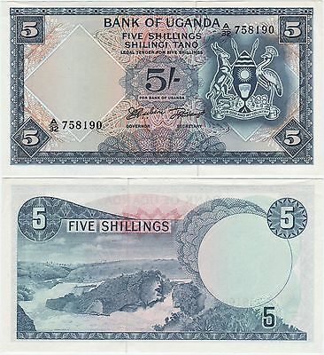 UGANDA 5 SHILLINGS 1966 P1a (AU/UNC) *BEAUTIFUL NOTE*