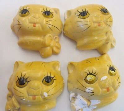 Vintage lot of 4 Cat Kitten with Bow Chalk-ware Wall Hanging for paint touchup