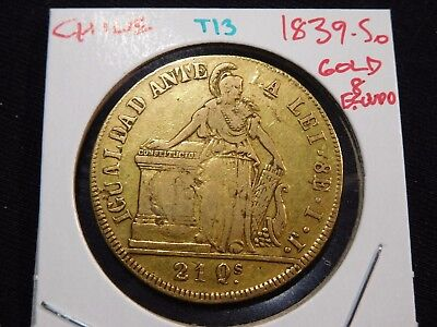 INV #T13 Chile 1839-So GOLD 8 Escudos