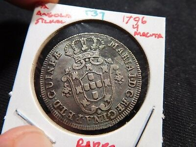 INV #T37 Portuguese Africa Angola 1796 Silver 4 Macutas RARE
