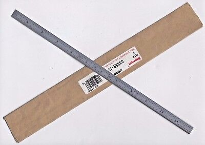Vintage L.S. Starrett Chrome Scale Ruler C305R-12 Aircraft Mechanic Tool NEW