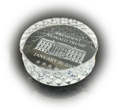WATERFORD Inauguration CRYSTAL Paperweight 2017 President Donald Trump