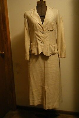 Vtg 1930's 40's 50's Pure Imported Bamboo Linen Ladies 2-Piece Suit