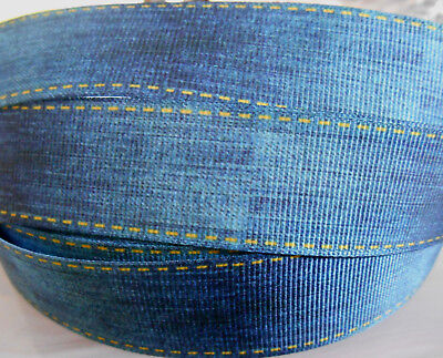 "STITCHED DENIM LOOK Grosgrain Ribbon 1""  Cake Clip Card Craft  2 yds 5 yds  DCD"