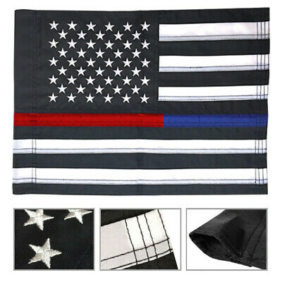 12x18 THIN RED+BLUE LINE USA Flag Embroidered Nylon Garden Flag with Sleeve