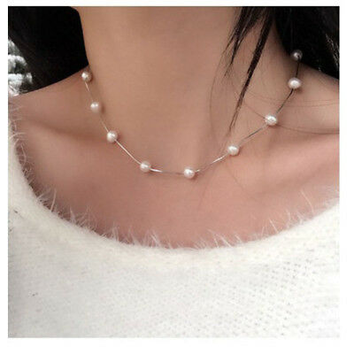 Women Charming Jewelry 925 Silver Pearl Statement Pendant Necklace Chain Wedding