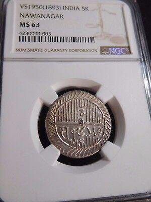 INV #T141 India Nawanagar VS-1950 (1893) 5 Kori NGC MS-63
