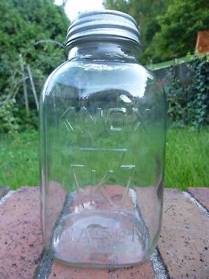 Vintage Knox Mason 1/2 Half Gallon Clear Squat Jar Keystone Canning Fruit Old