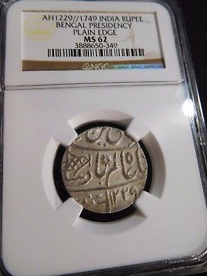 INV #T144 India Bengal Presidency AH-1229//1749 Rupee Plain Edge NGC MS-62
