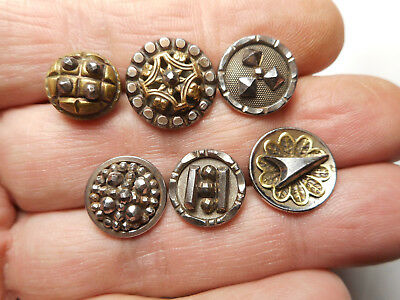 """Lot of 6 Antique Buttons Steel Cup w/ Cut Steels 9/16"""""""