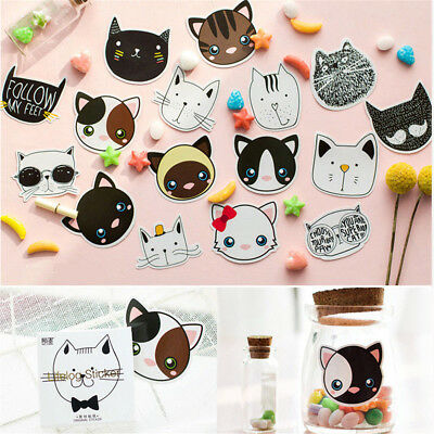 45 pcs Cute Cat Head Mini Paper Sticker Decoration Diary Album Label Sticker DIY
