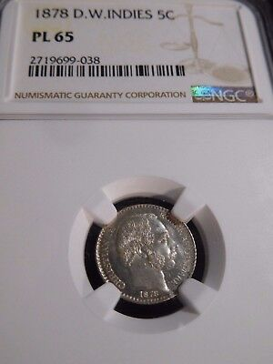 INV #T157 Danish West Indies 1878 5 Cents NGC Proof-Like-65 Extremely RARE