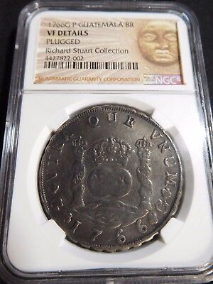 INV #T163 Guatemala 1766-G P 8 Reales Plugged NGC VF Details