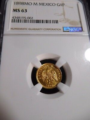 INV #T168 Mexico 1898-Mo M GOLD Peso NGC MS-63 Mintage of 5,131