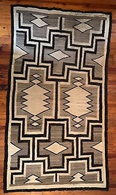 """Large Early 20th C Navajo Rug with Bold Crosses Throughout, 51"""" x 90"""", c1910,NR!"""
