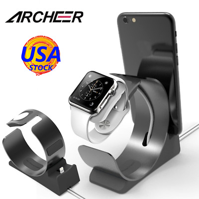 Archeer 2in1 Charging Station Dock Charger Holder Stand For Apple Watch iPhone