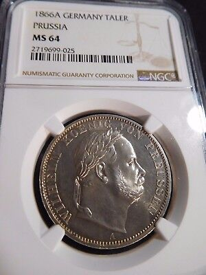 INV #T222 German State Prussia 1866-A Taler NGC MS-64