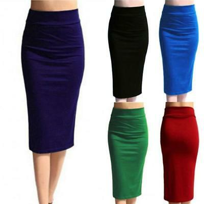 Women Lady High Waist Bodycon Straight Stretch Business OL Pencil Midi Skirt - S