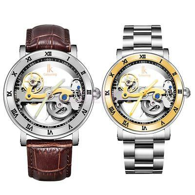 2pcs Skeleton Mens Automatic Mechanical Watch IKColouring Sports Wristwatch