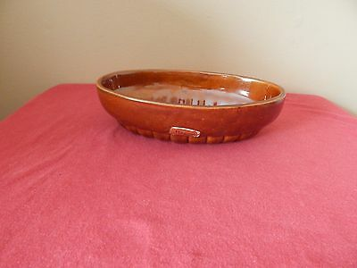VINTAGE HAEGER POTTERY BROWN OVAL BOWL 73 USA approx  8'' X 5''