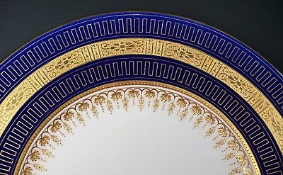 Gorgeous Antique Minton Enameled Gold Cobalt Blue Porcelain China Cabinet Plate