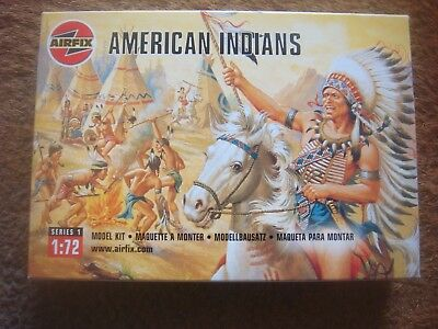 NEW SEALED Airfix 01708 American Indians 1:72 Scale Series 1 Plastic Figures