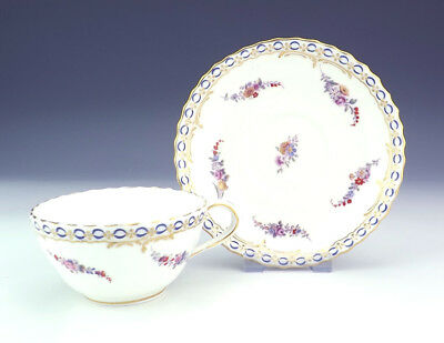 Antique English Porcelain Flower Decorated Cabinet Cup & Saucer - Early!