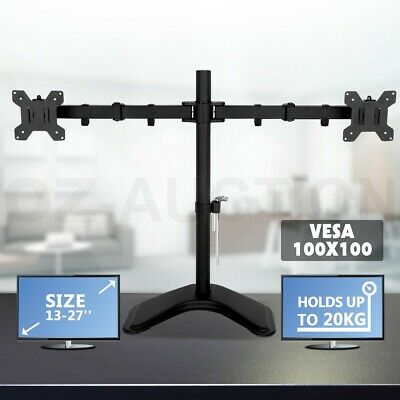 "13""-27"" Dual Monitor Stand Vesa TV Screen Bracket 90° Tilting 180° Swivel Height"