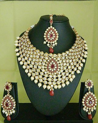indian Fashion WEDDING jewelry kundan necklace bollywood ethnic traditional Set