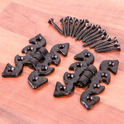 2 x HIGH QUALITY BLACK BUTTERFLY HINGES - CABINET/CUPBOARD DOOR Classic/Vintage