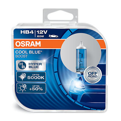 New! Osram HB4 (9006) Cool Blue Boost 5000K Hyper Blue Bulbs (x2) 69006CBB-HCB