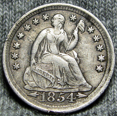 1854 Seated Liberty Half Dime -- TYPE COIN -- #O916