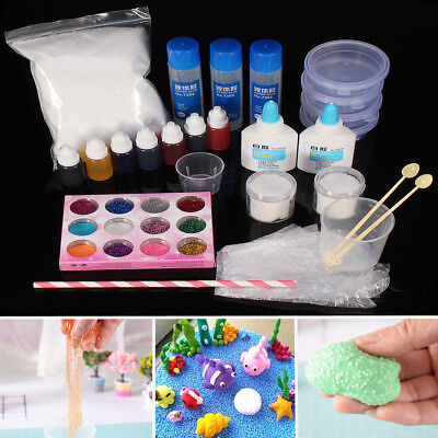 DIY Make Magic Clay Slime Snow Mud Crystal Mud Making Kit For Kids Game Gift Toy