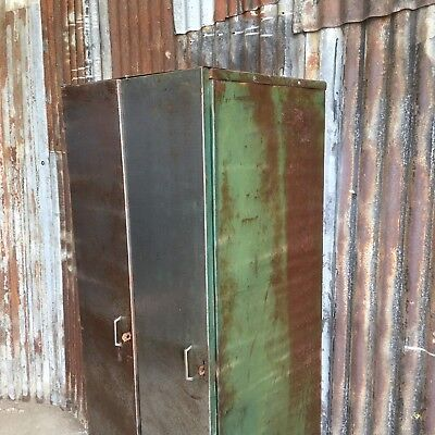 Double Industrial Vintage Lockers, Upcycled Reworked Funky Retro 2 Door Loft