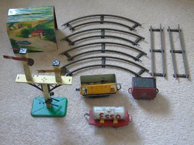 Very Early O Gauge Tinplate Train Track, Carriages, Signal & Tunnel, Hornby? a/f