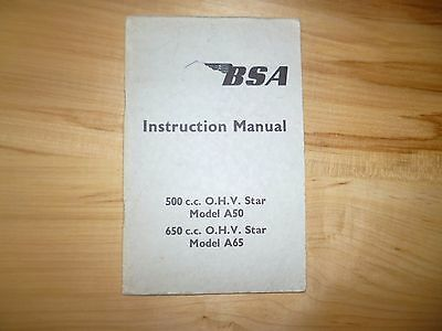 BSA Owners Instruction Book early rear cable brake A50 A65 dated November 1961.