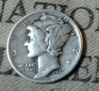1941-S Winged Liberty Mercury 90% Silver Dime Ships Free Mdl27