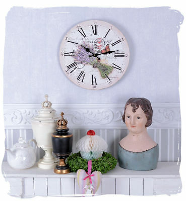 Wall Clock Lavender Vintage Watch Provence Kitchen Country House Style Shabby