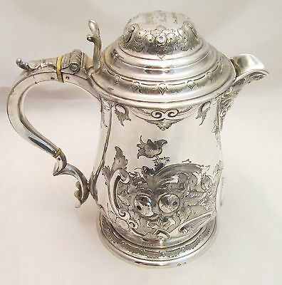 A Very Fine Ornate Silver Plated Beer Jug - 1873 - Crested - Martin Hall & Co
