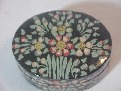 Kashmir India Lacque Box Hand Made Painted Trinket Jewelry w/ Authenticity label